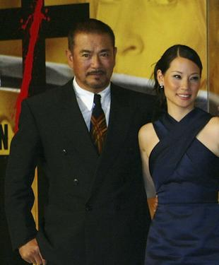 Sonny Chiba and Lucy Liu at the press conference of the premiere of &quot;Kill Bill - Volume One.&quot;
